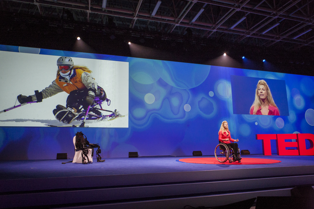 Amanda Boxtel has been in a wheelchair for more than two decades. At the TEDCity2.0 Salon, she showed how a bionic exoskeleton suit helps her walk. Photo: Paul Persky/TED